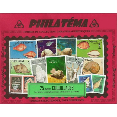 25 timbres coquillages
