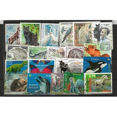 25 TIMBRES ANIMAUX FRANCE
