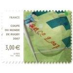 TIMBRE COUPE DU MONDE DE RUGBY 2007 AUTOADHÉSIF N°128 NEUF