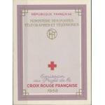 CARNET DE TIMBRES CROIX ROUGE 1958