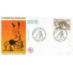ENVELOPPE ILLUSTRÉE 1er JOUR 1987 / CHAMPIONNAT DU MONDE DE LUTTE / CLERMONT FERRAND