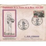 ENVELOPPE ILLUSTRÉE 1er JOUR 1964 / 50ème ANNIVERSAIRE DE LA VICTOIRE DE LA MARNE / SEZANNE