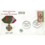 ENVELOPPE ILLUSTREE 1er JOUR 1965 / CINQUANTENAIRE DE LA CROIX DE GUERRE / PARIS