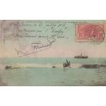 PASSAGE DE LA BARRE GRAND LAHOU COTE D'IVOIRE / 1907 / CARTE COLORISEE