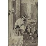 "CARTE ""POURQUOI PLEURER JEUNE FILLE ?"" / 1908"