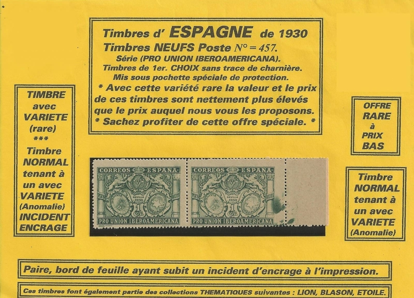 timbres espagne 1930 neufs vari t 2 timbres s rie 2 timbres par pays timbres d 39 europe philatema. Black Bedroom Furniture Sets. Home Design Ideas