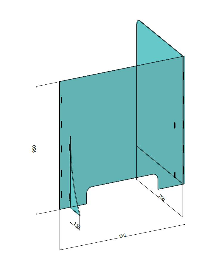 Hygiaphone Cloisons Angles 95 cm Haut