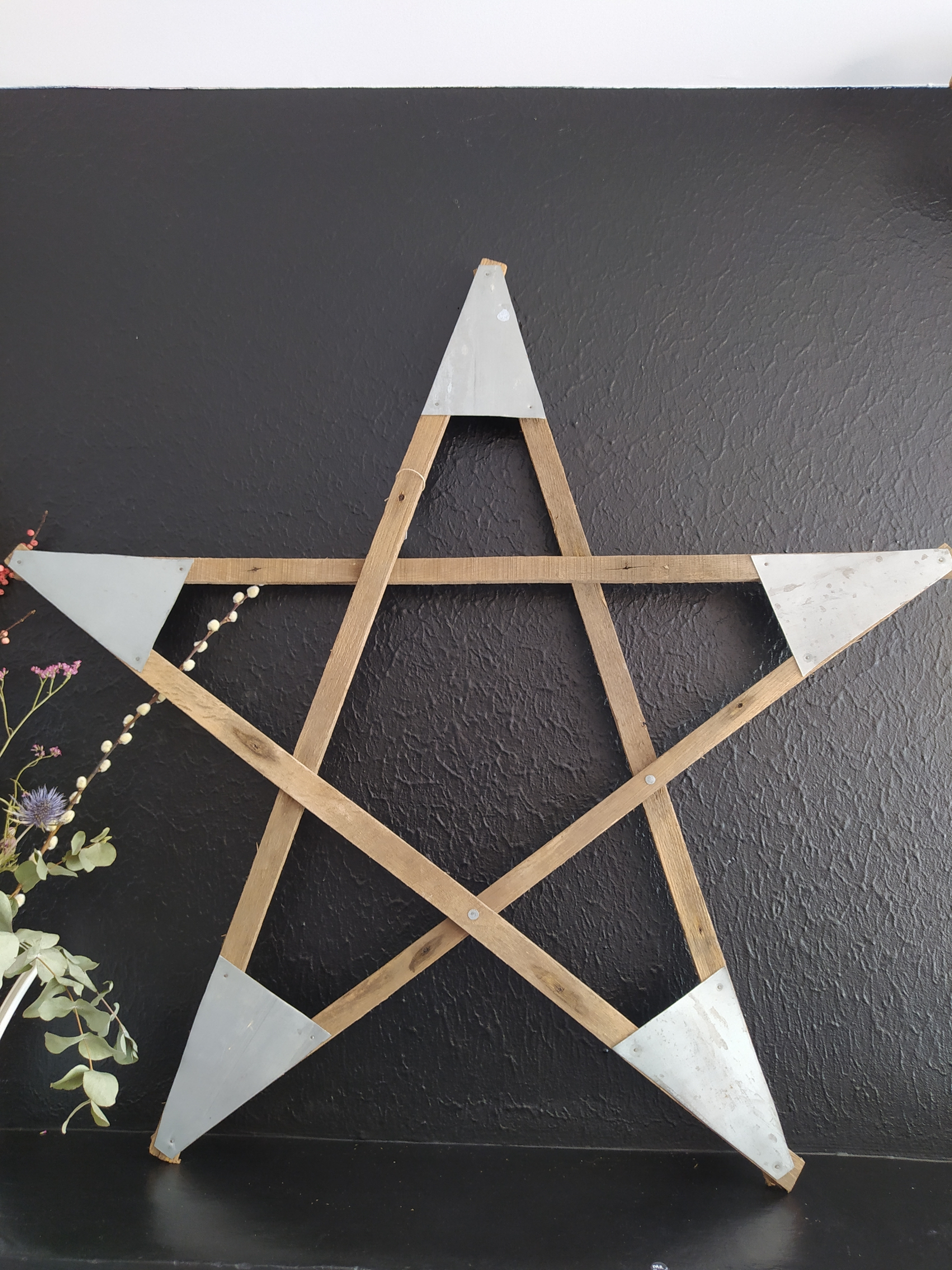 Grande étoile bois et zinc [upcycling]