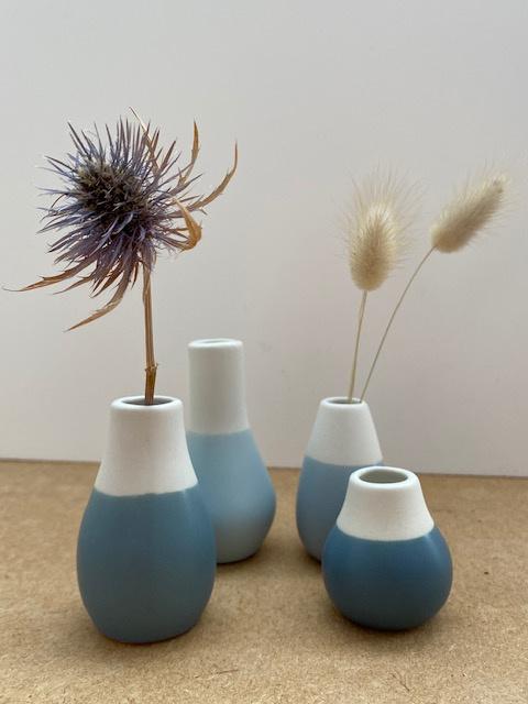4 mini vases bleus