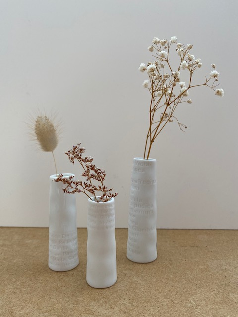 3 mini vases blancs