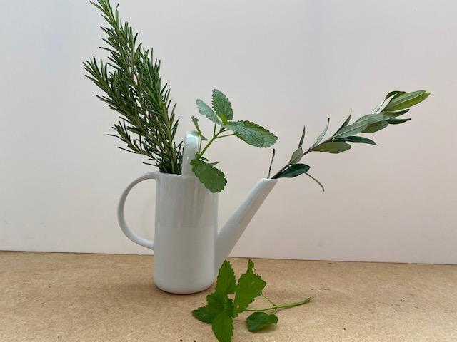 Vase (arrosoir) en porcelaine blanche