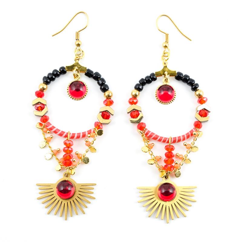 Boucles d\'oreilles rouges / Collection ETOILE SOLAIRE