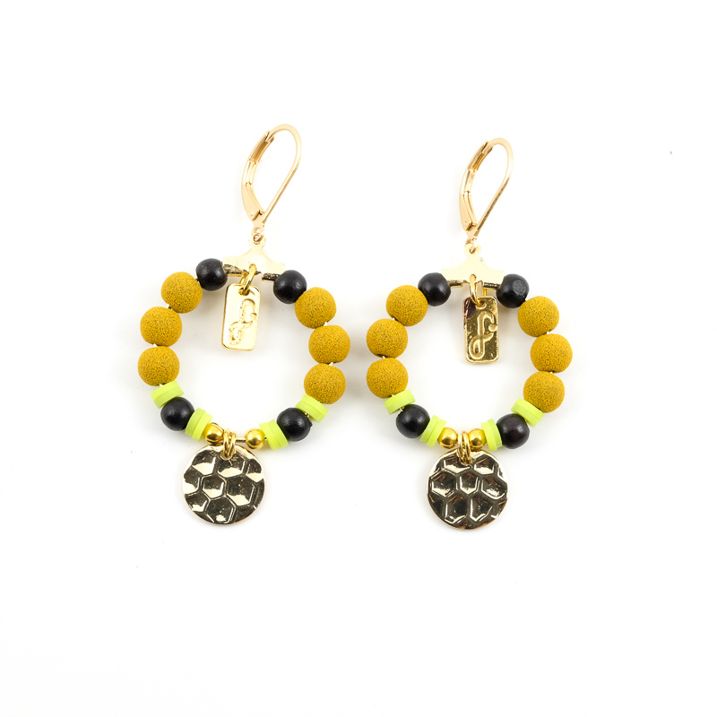 Boucles d\'oreilles jaune+moutarde / Collection FOGO