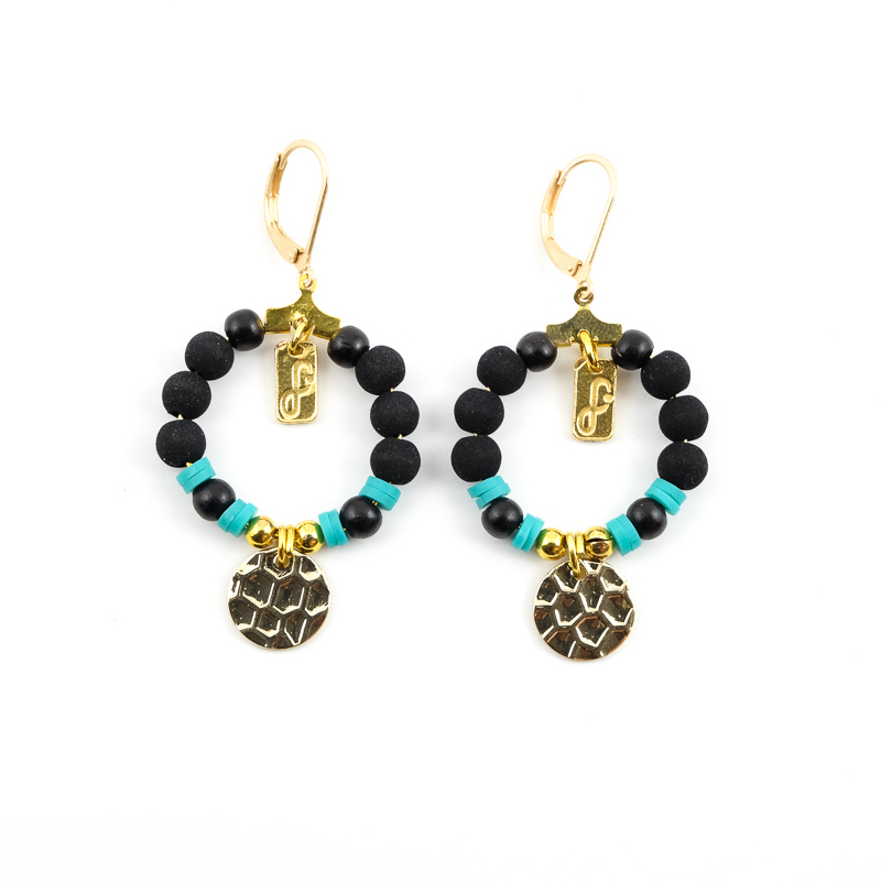 Boucles d\'oreilles noir+turquoise / Collection FOGO