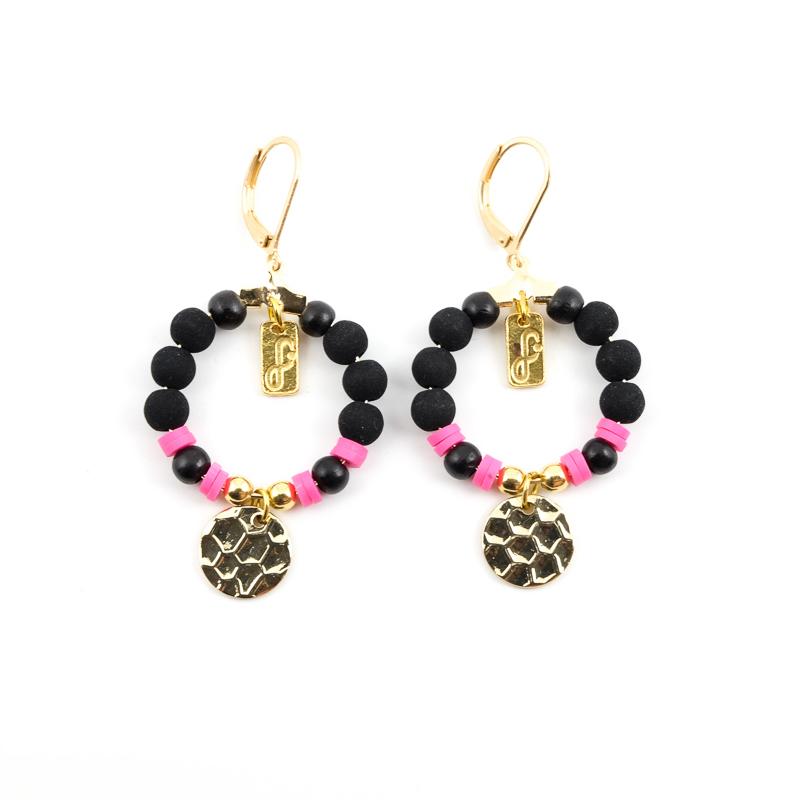 Boucles d\'oreilles noir+rose / Collection FOGO