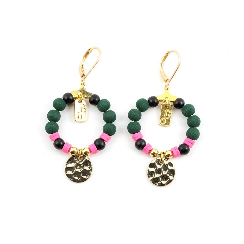 Boucles d\'oreilles rose+vert / Collection FOGO