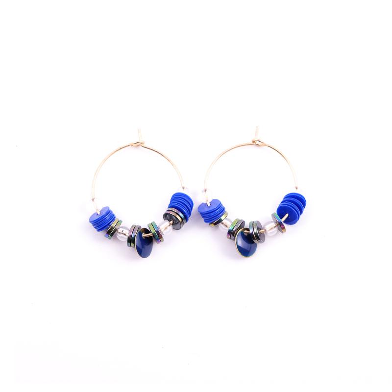 Boucles d\'oreilles bleu+gris / Collection ETHNIK