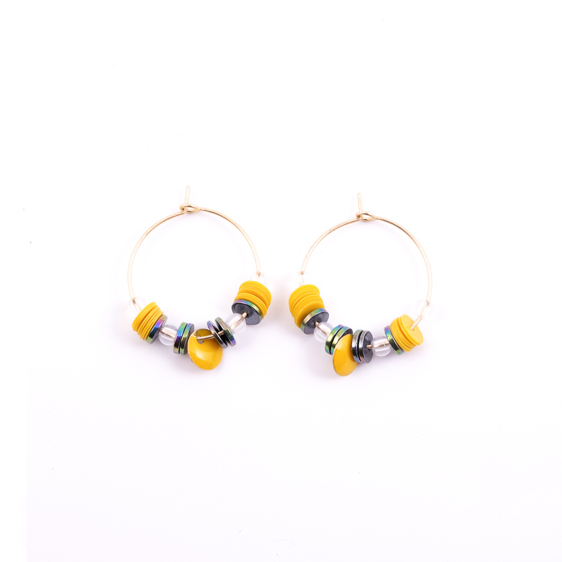 Boucles d\'oreilles jaune+gris / Collection ETHNIK