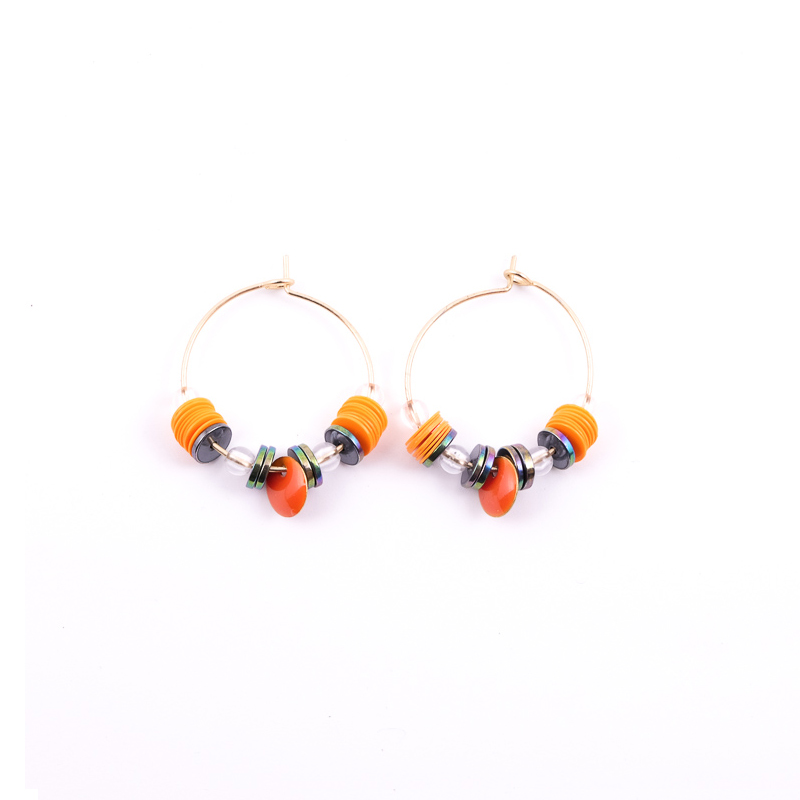 Boucles d\'oreilles orange+gris / Collection ETHNIK