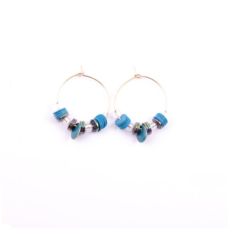 Boucles d\'oreilles turquoise+gris / Collection ETHNIK