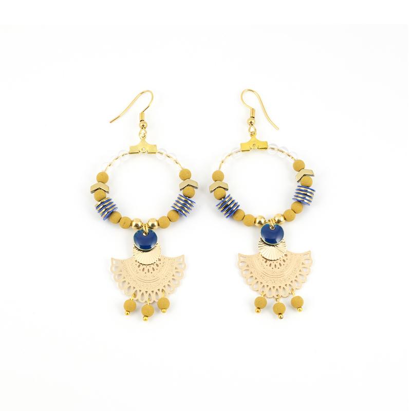 Boucles d\'oreilles ORIENTAL Moutarde Bleu