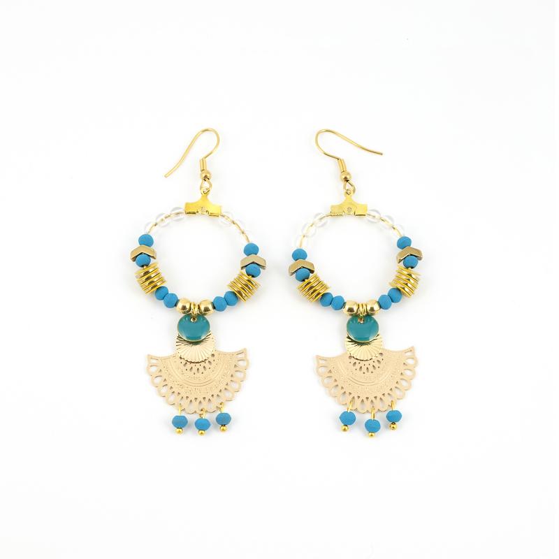 Boucles d\'oreilles ORIENTAL Turquoise Moutarde