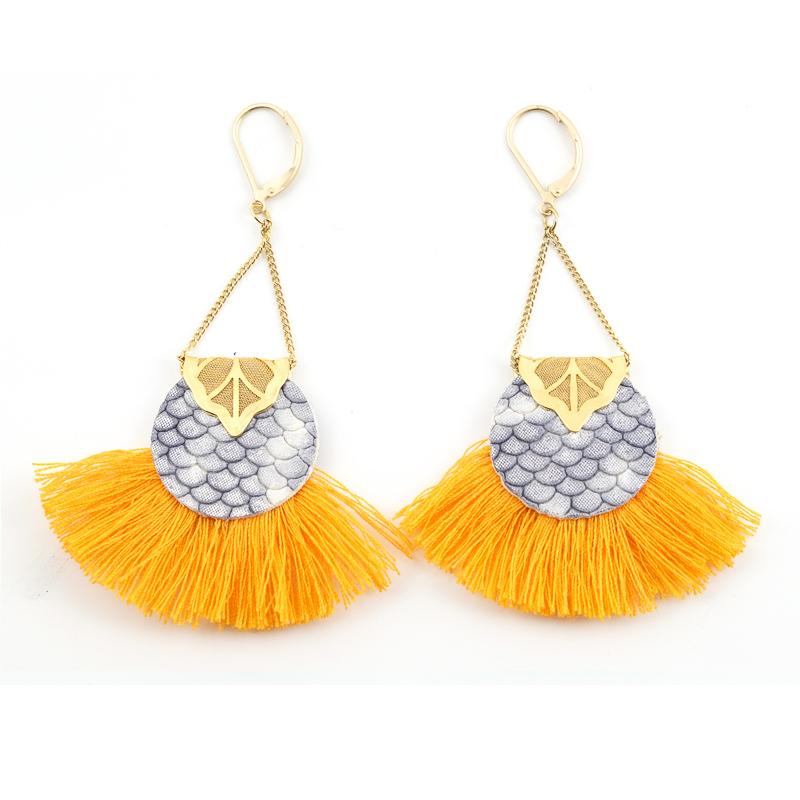 Boucles d\'oreilles ABACAXI Gris et Orange