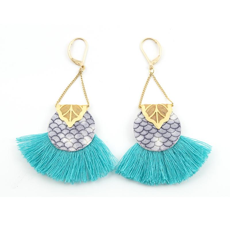 Boucles d\'oreilles ABACAXI Gris et Turquoise