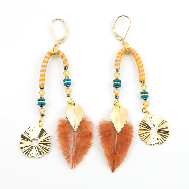 Boucles d\'oreilles orange+turquoise / Collection PLUME