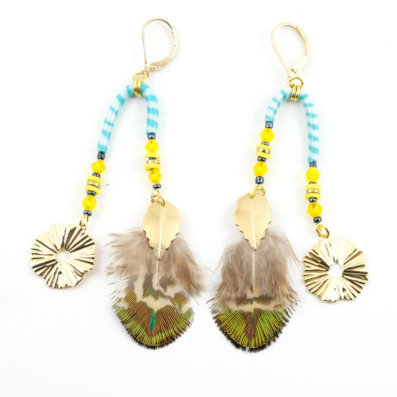 Boucles d\'oreilles turquoise+jaune / Collection PLUME