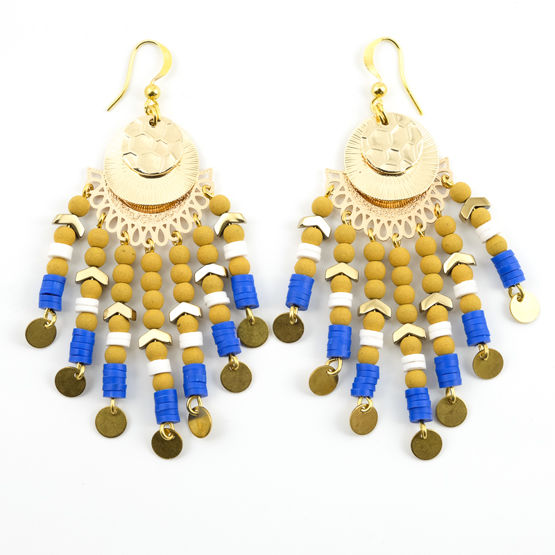 Boucles d\'oreilles moutarde+blanc+bleu / Collection VAIDOSA
