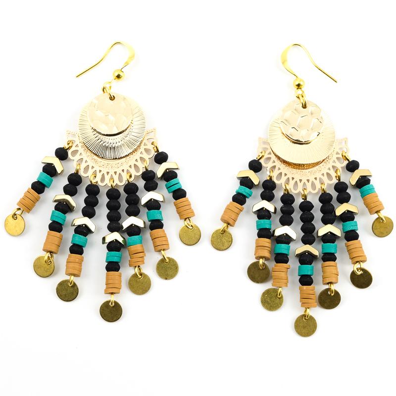Boucles d\'oreilles noir+turquoise+marron / Collection VAIDOSA