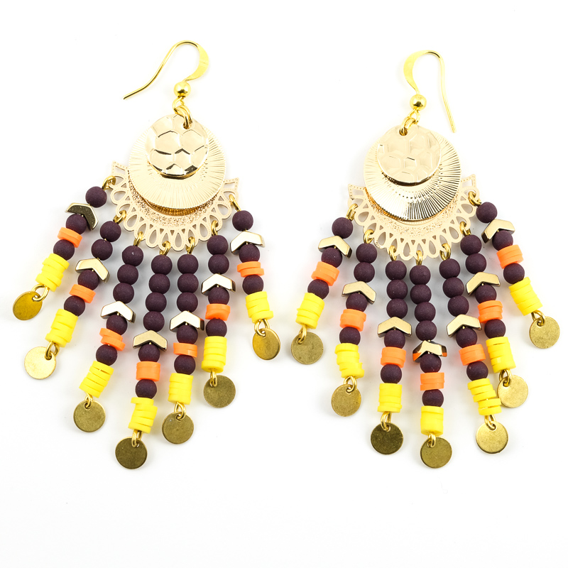 Boucles d'oreilles bordeaux+orange+jaune / Collection VAIDOSA