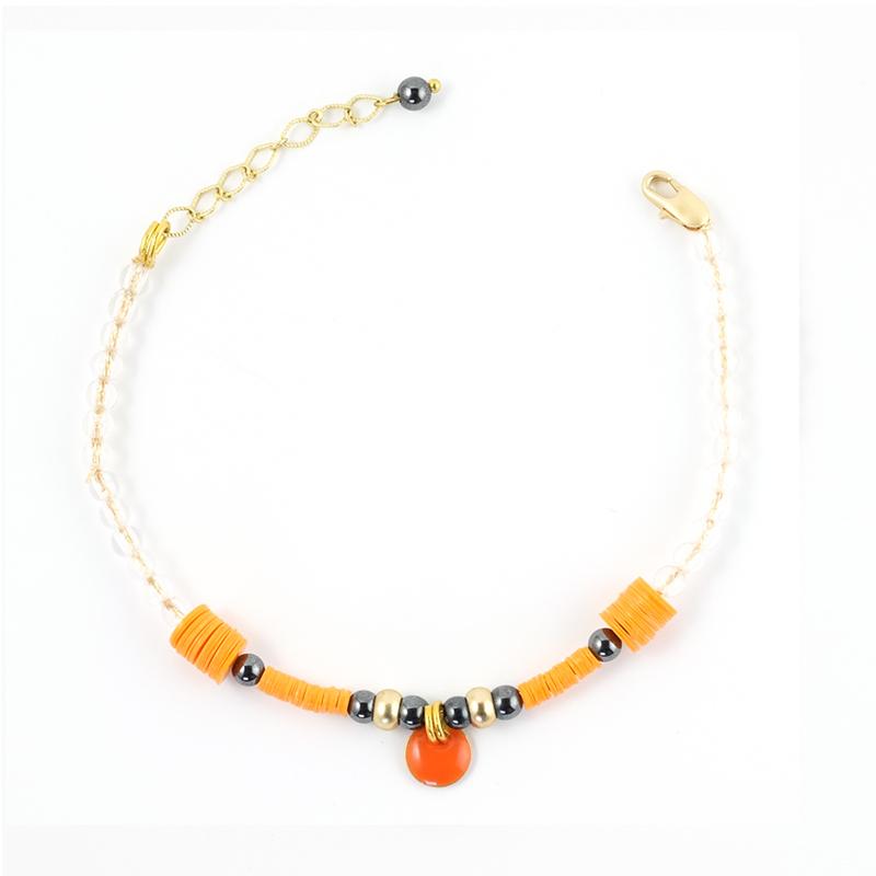 Bracelet orange+gris / Collection ETHNIK