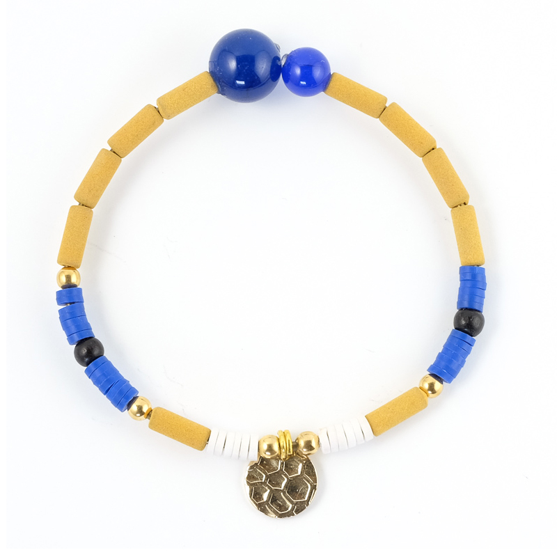 Bracelet bleu+moutarde / Collection FOGO