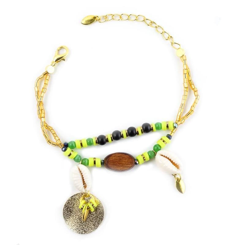 Bracelet jaune fluo+vert avec son médaillon doré / Collection INDI