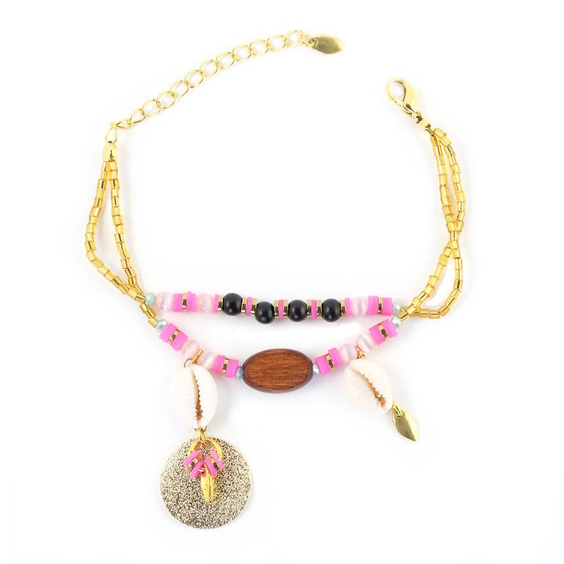 Bracelet rose+rose avec son médaillon doré / Collection INDI.