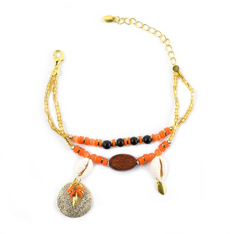 Bracelet orange+orange avec son médaillon doré / Collection INDI