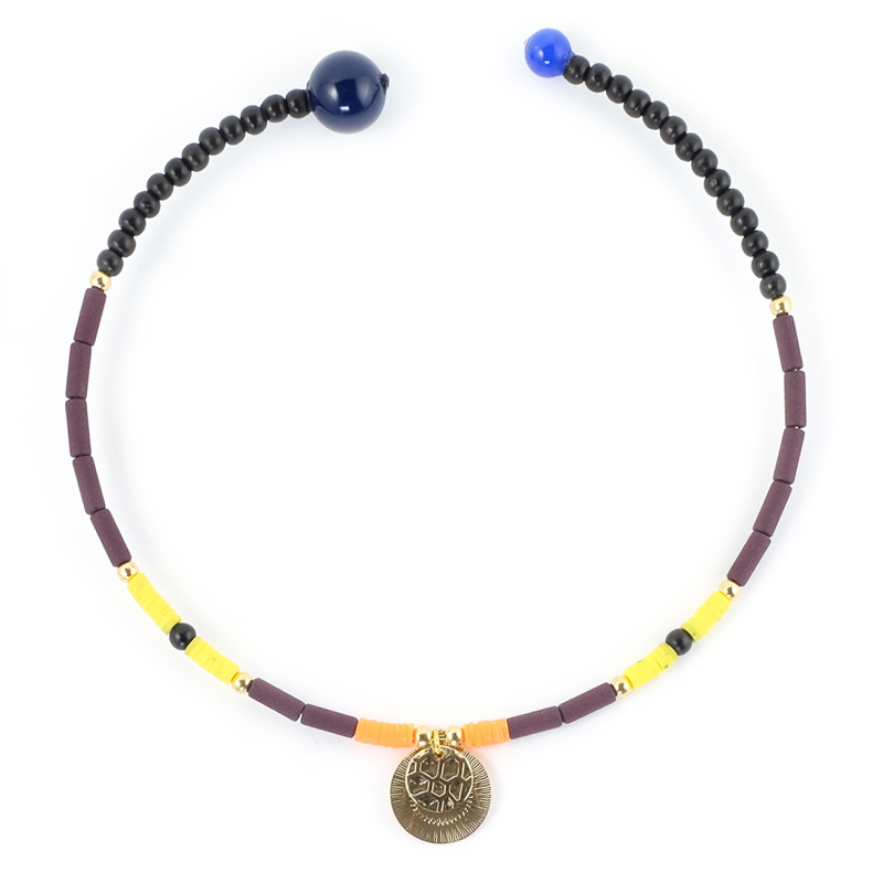 Collier Ras de cou jaune+bordeaux / Collection FOGO