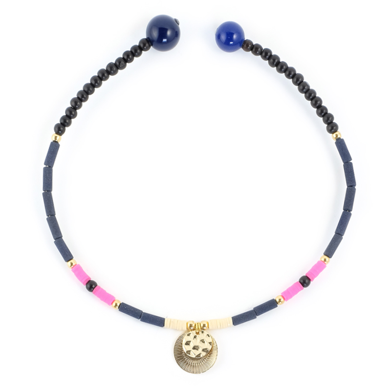 Collier Ras de cou rose+bleu / Collection FOGO.
