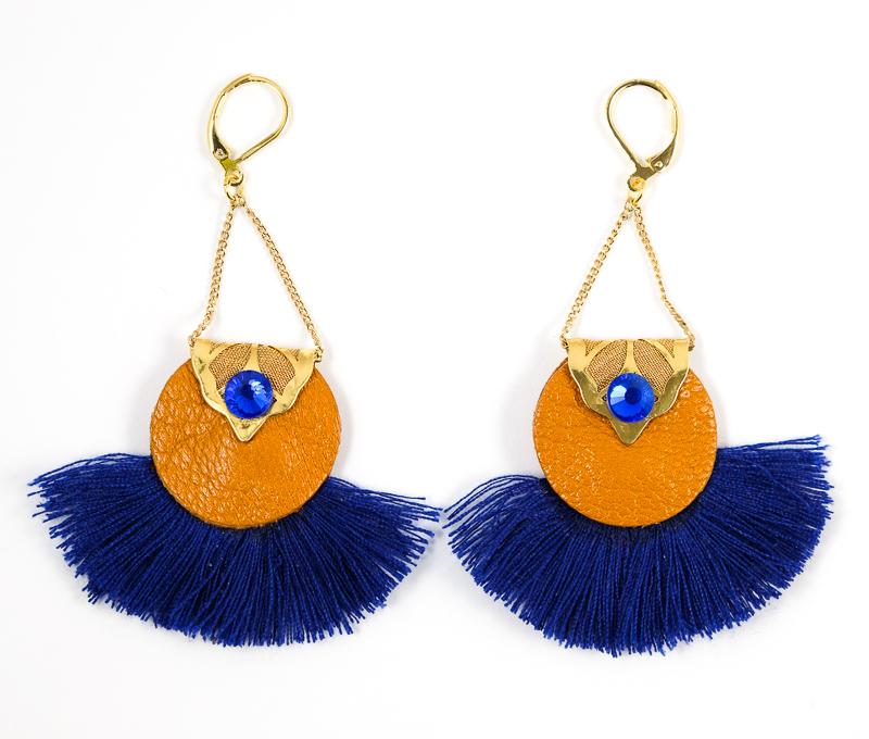 Boucles d\'oreilles Oranges+Bleues / Collection ABACAXI