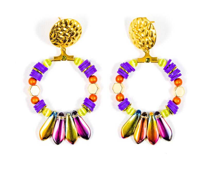 Boucles d\'oreilles violettes+multi / Collection VIOLETA