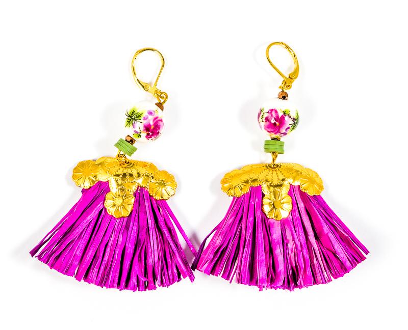 Boucles d\'oreilles violettes+doré+porcelaine / Collection VIOLETA