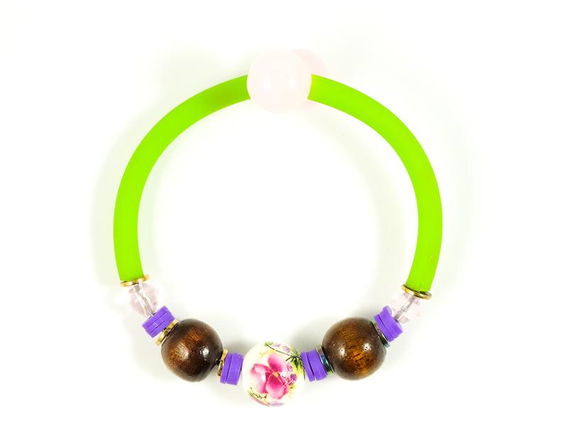 Bracelet vert fluo+blanc+violet / Collection VIOLETA