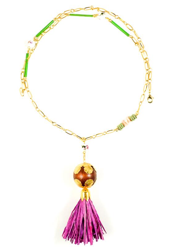 Collier violet+doré+vert / Collection VIOLETA