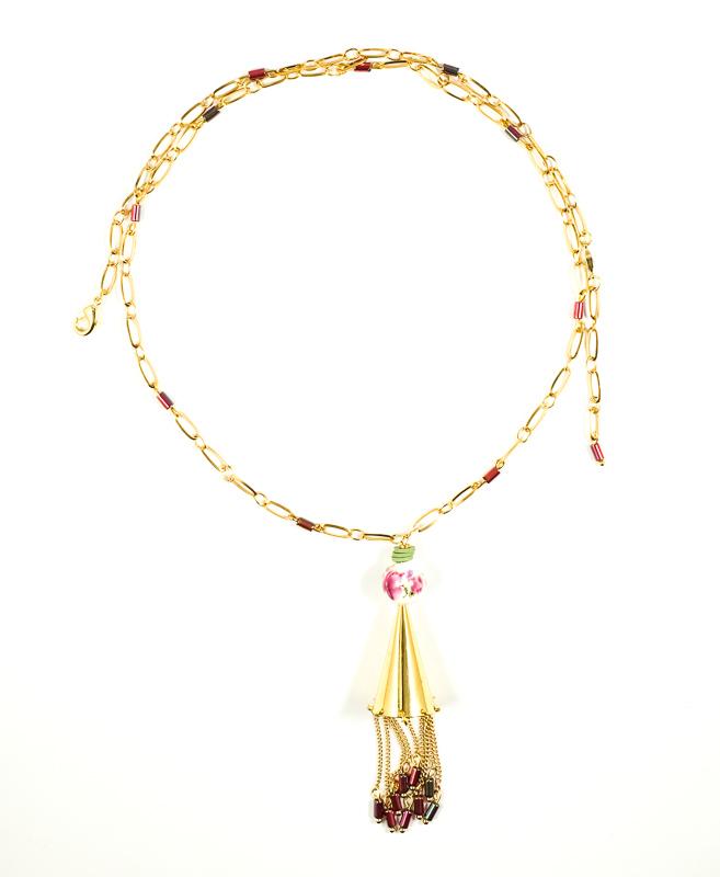 Collier doré+porcelaine / Collection VIOLETA