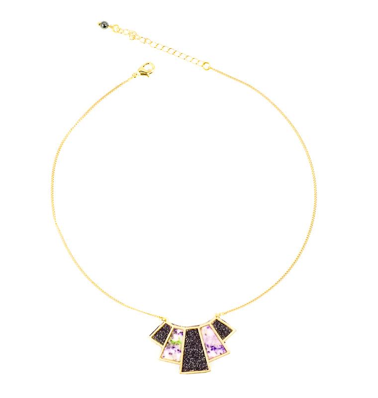 Collier ras de cou pendentif violet foncé scintillant / Collection VIOLETA