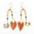 boucles_oreilles_plume_marron_orange_turquoise