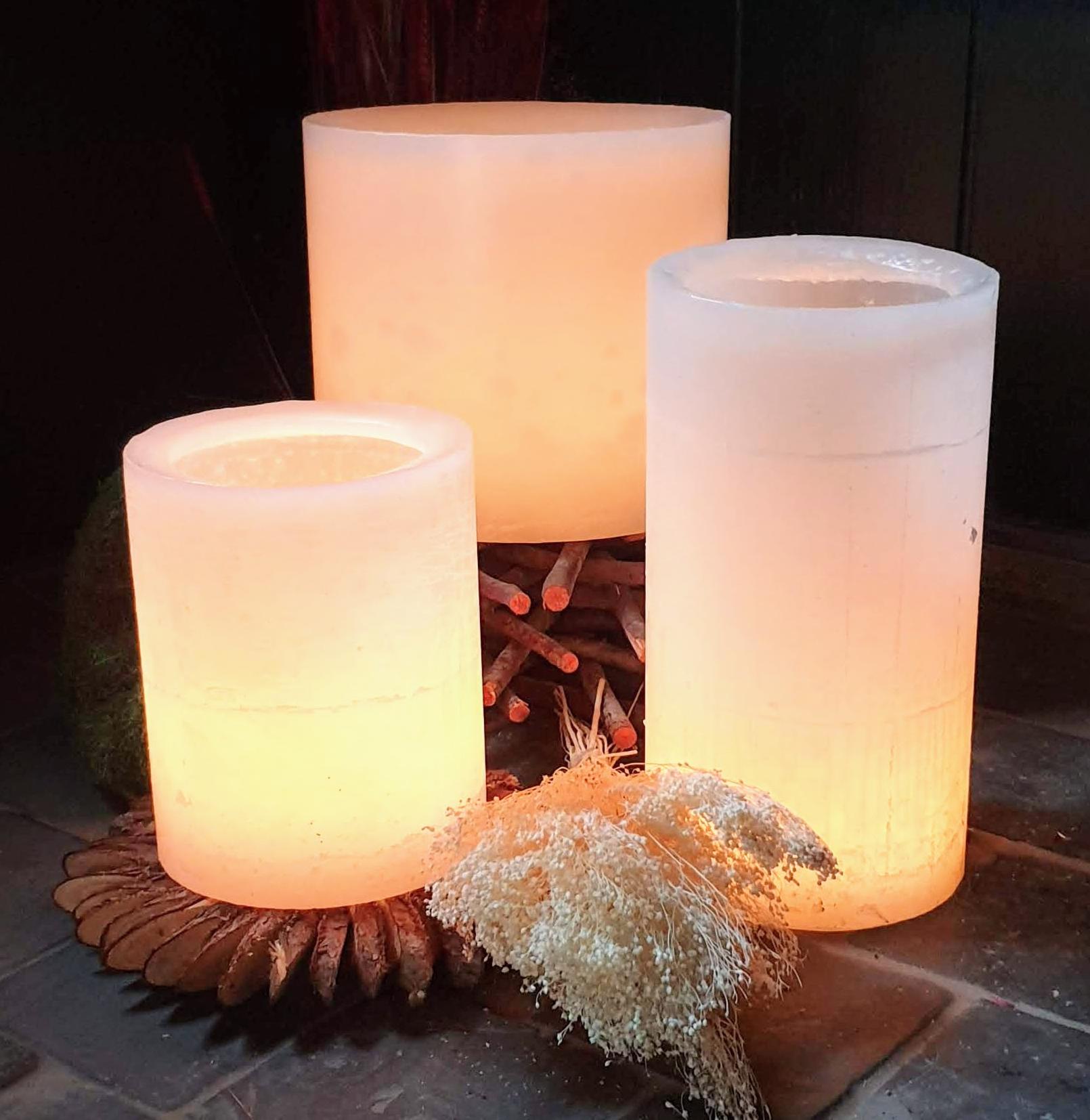 trio bougies photophores couleur ivoire