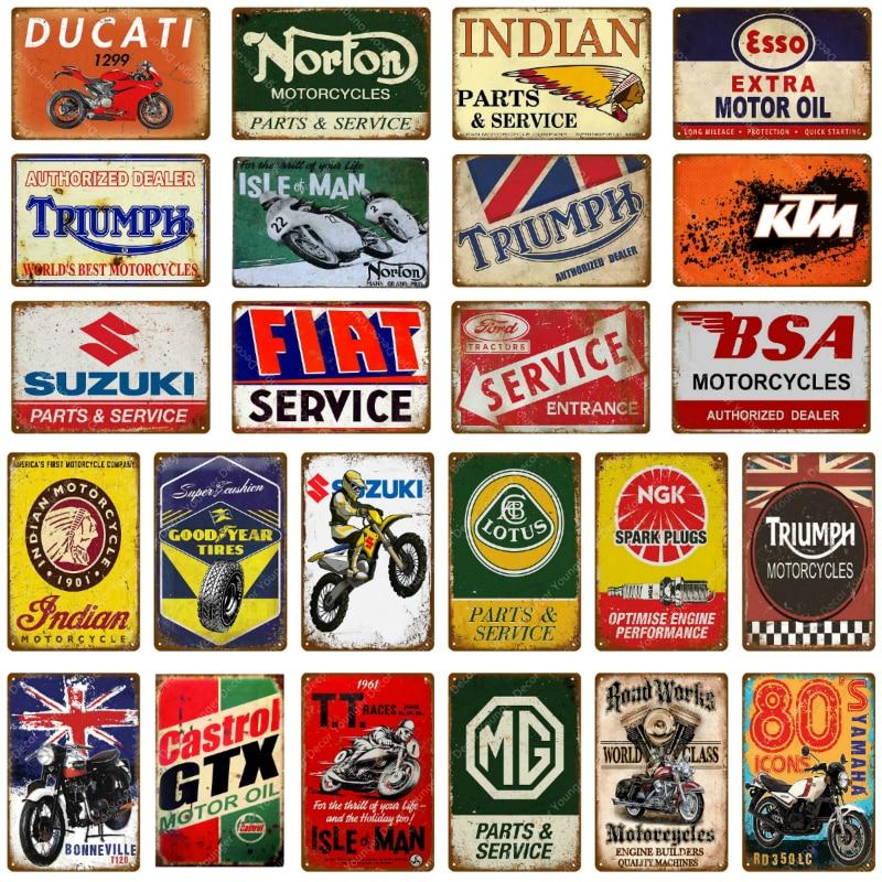 Plaques émaillées Vintage en étain marques Huiles, moto, pneu ...